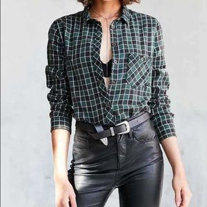 BDG dark green white & black button down shirt